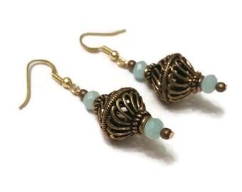 Small Dangle Earrings, Dangle Earrings, Antique Gold Earrings, Antique Earrings, Small Gold Earrings, Gold Earrings, Gold Dangle Earrings