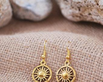 Sun earrings, delicate gold tone earrings, summer beach earrings, jewelry handmade, round dangle earrings, tribal earrings, boho earrings