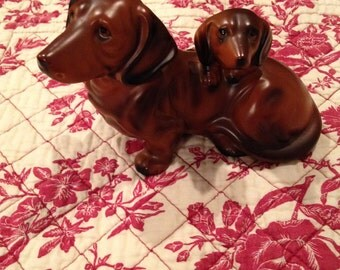 SALE- Vintage Ceramic Dachshund With Pup Made In Japan