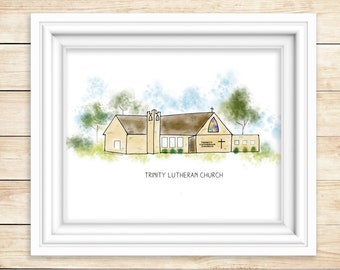 SIOUX VALLEY MN  Church Watercolor Print  Sioux Valley Minnesota Mn Historic Art Print Lakefield, Mn Trinity Lutheran Church Sioux Valley