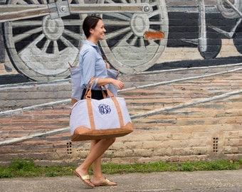 Monogrammed Weekend Bag, Monogrammed Overnight Bag, Seersucker Tote, Bridesmaids Gift, Monogrammed Gifts, Personalized Gifts, Weddings