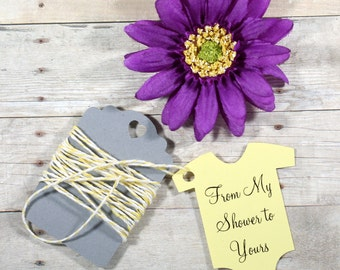 Baby Shower Favor Tags Set of 20 - Light Yellow Shower Favors - Die Cut Baby Suit Shaped Tags - From My Shower to Yours - One Piece