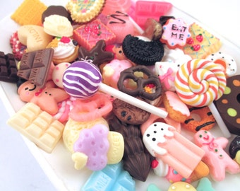 25pc  LARGE Assorted Decoden Sweets Kawaii Cabochons (25-30mm)