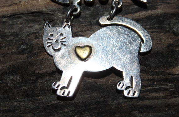 """Large Silver Cat Pin and Fish Bone Heavy Vintage Sterling Silver 18.9 grams 925 Silver Mexico  Size 1. 1/2"""" x 2"""" 925 Sterling Silver Vintage"""