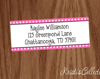 Girls Return Address Labels Stickers - Custom Personalized Polka Dots - Gift for Mom Female Girl