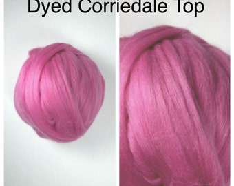 Camellia Corriedale Top / Dyed Corriedale Roving / Pink Corriedale Felting / Spinning Fiber / 2oz 4oz 8oz