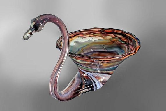 Art Glass Swan Bowl, Multicolored Swirl, Handblown, 12 Inches in Length, Swan Figurine