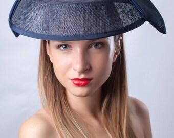 Chic navy hat, Elegant derby headpiece, Royal Ascot fascinator, Kentucky derby hat, Audrey Hepburn hat, Hat, Haute couture hat, Chic hat