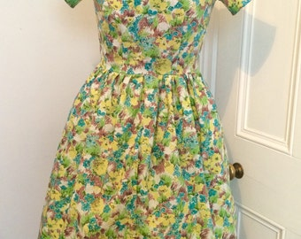 """Handmade Vintage Floral Fabric 1950s Style """"Tabitha"""" Dress. UK Size 8. Retro Fit Dress. Occasion Dress"""