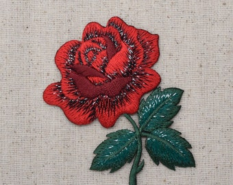 Red Rose - Open Petals and Stem - Flower - Iron on Applique - Embroidered Patch - 153105A