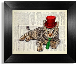 Tabby CAT Art, Funny Cat Painting, Red Hat Cat Wall Art, Gentleman Cat Print, CAT LOVER Gift for Cat Lover, Cat Drawing, Cute Cat Artwork