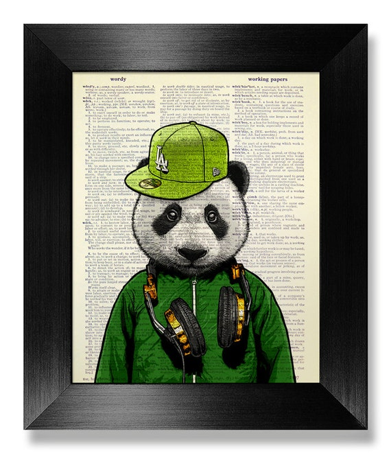 Panda art bear print panda bear gift panda bear wall decor for Panda bear decor