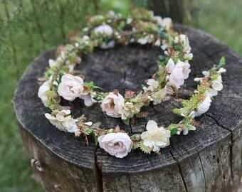 Flower Hair Garland Wedding Hair Flowers Head Wreath Flower Crown Cherry Blossoms Off White Bridal Wreath Fairy Wreath Floral Hair Crown