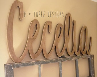 Large Painted Script Connected Wood Wall Name / Nursery Decor / Wooden Initials / Name Plaque / Wedding Name / Name Decor