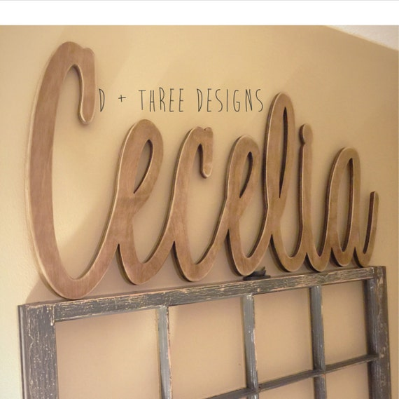 Wood Name Wall Decor : Large painted script connected wood wall name nursery decor