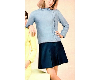 Women's Retro Pullover Knitting Pattern with Detailed Mock Neckline from 60s