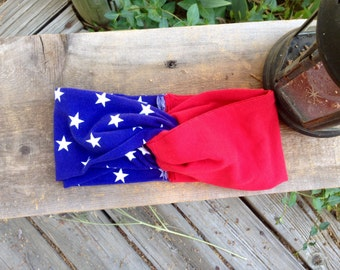 Fourth of July TURBAN Headband // Adult Headband, Infant Headband, Red White Blue Headband