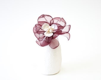 Blossoming of Morning. Mother of Pearl Flower Brooch (Wine) see through thin cotton flower petals, pearl decoration, mother's day gift