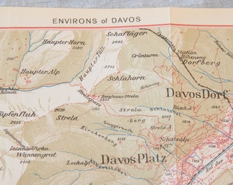 1948 Davos Switzerland Antique Map