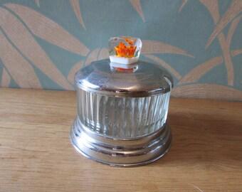Art Deco lead crystal (?) & chrome/metal preserve pot, cuteflower in lucite knob on lid