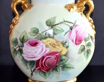 Antique LIMOGES Vase Jean Pouyat Pillow VASE Rare LARGE Size Hand Painted French Porcelain Roses Gold Dragon Handle Vase Art Nouveau Decor