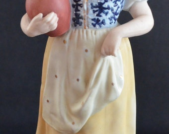Antique Heubach Bisque Figurine Woman with Jug German Porcelain Hand Painted Victorian Parlor Statue