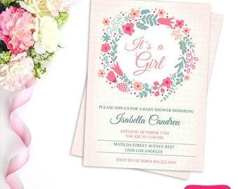 BABY SHOWER INVITATION - Pink Floral Invitation  - Printable Baby Shower Invitation - Baby Girl - Bridal Shower Invitation