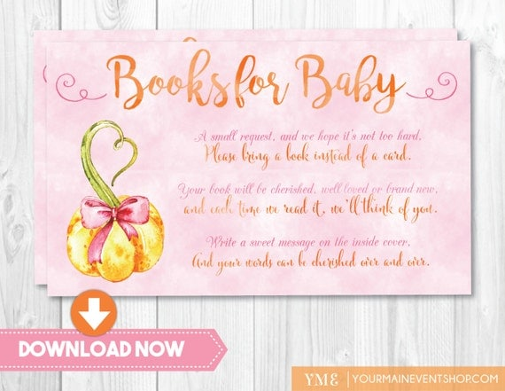 Girl Pumpkin Book Request Card • Fall Autumn Books For Baby • Baby Shower Book Request Card Printable Instant Download • BS-F-01