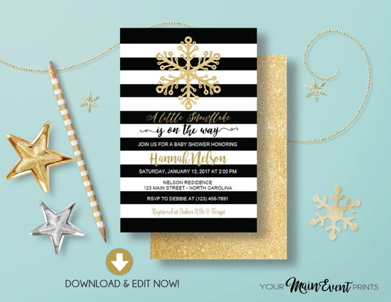 Snowflake Baby Shower Invitation, Black and Gold Winter Snowflake Christmas Baby Shower Invite Instant Download