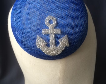 Vintage style mini beret hat - royal blue with beaded nautical detail.