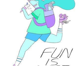 Fun is Nice Art print, roller skating girl illustration, wall art, colourful art print, roller derby art print, cool girls print, fun print