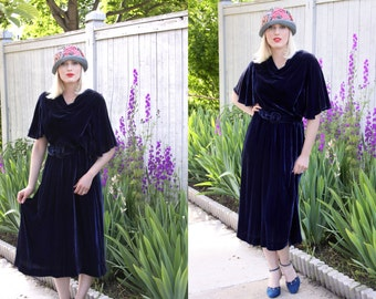 Vintage 1930s Dress / Art Deco Dress / Old Hollywood / Size Large