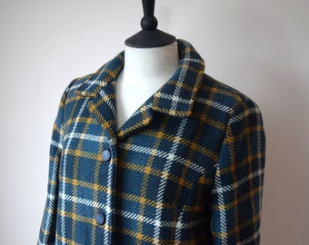 Vintage Jacket Teal Mustard and Cream Check Plaid Wool Fully Lined UK Size 8 -10,  US Size 4-6