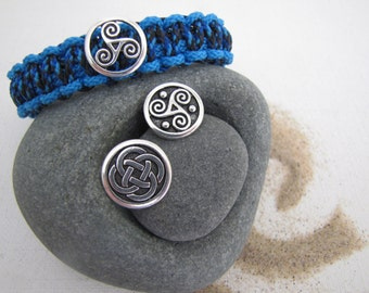 Custom made Celtic Spiral Bracelet,  Made to Order Bracelet, Celtic Spiral, Celtic Design, Triskele Bracelet, Tied Celtic Bracelet, Blue