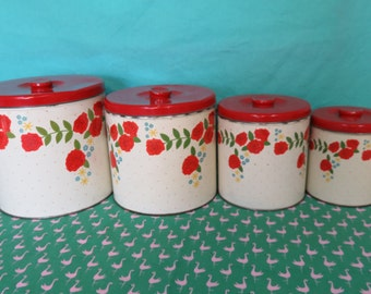 Vintage Kitsch Nesting Canisters, Set of Four 4, red and white floral canisters, retro kitchen canister set