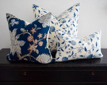 Waverly Throw Pillow Custom Accent Pillow Designer Pillow Zipper Enclosure Pillow Case Vintage Nassau Vine Toile Porcelain Navy Blue Ivory
