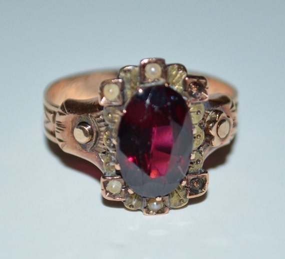 1880s Victorian Rose Gold Garnet & Pearl Ring, Vintage Rose Gold Ring, Garnet Ring from 1800s, Antique Rose Gold Garnet Ring, Ring from 1883