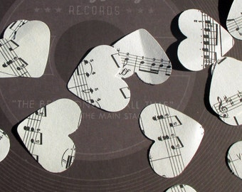 700-Vintage-Music Heart Confetti-large & small-paper hearts-musical note paper-vintage Wedding decorations-music note paper-bridal shower