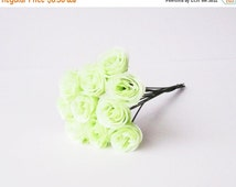ON SALE Artificial Roses Silk Flowers 10 Medium White Green Rose Floral Hair Accessories Flower Supplies Faux Fake Roses