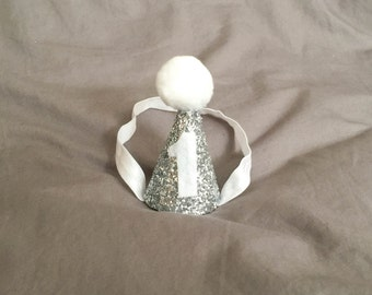 Silver and White First Birthday Hat, Party Hat, Mini Party Hat, Baby Party Hat, Cone Hat, Pom Pom Hat, 1st Birthday Hat, Cake Smash Hat