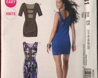 McCalls M6281 - Easy Stretch Knit Straight Dress with Raised Waist and Cutaway Back Options Size 14 16 18 20 22