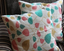 Green Gold Pink Cushion Cover. Luxury Colours. Hand Embroidered Leaves. 40x40cm. Removal Cover. Colourful and Bright