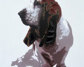 Basset Hound Dog - Handmade Oil Painting on Canvas - Wall Art