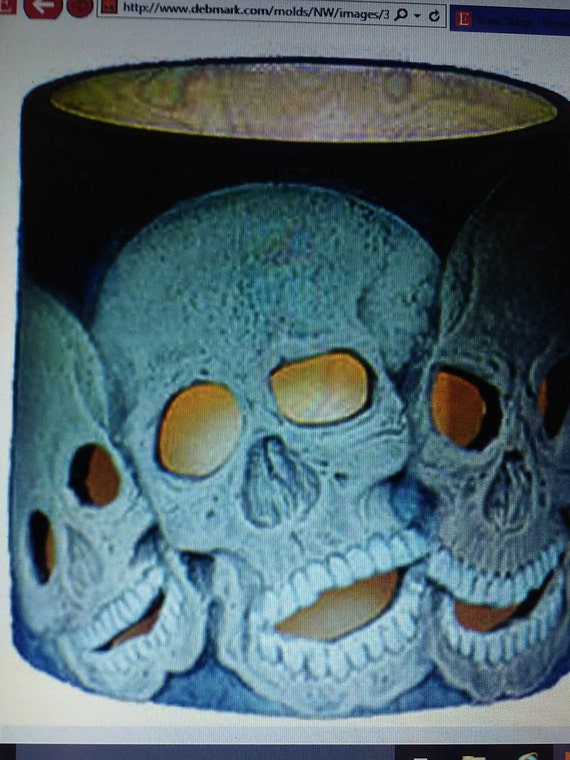 Ceramic bisque Skull candle by SYGiftsandCeramics on Etsy