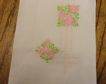 Vintage Tea Towel with roses