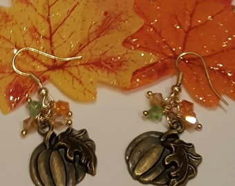 Bronze Tone Pumpkin Earrings, Free Shipping