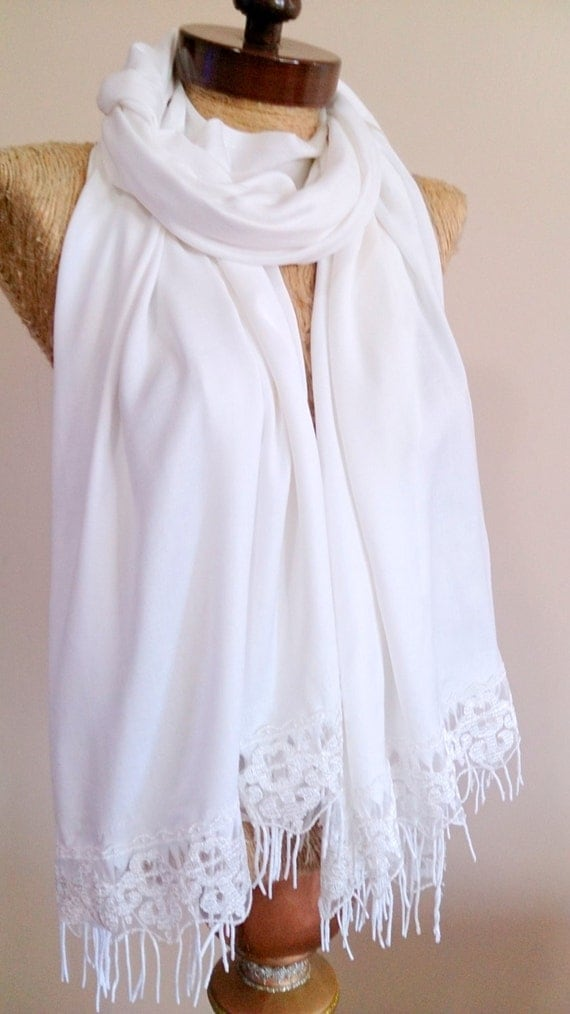 white wedding scarf bridesmaid gift bridesmaid scarf by