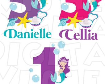 CHOOSE your color Mermaid Birthday Digital Iron on transfer clip art image INSTANT DOWNLOAD