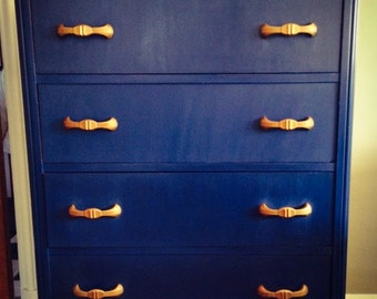 SOLD - Antique Blue Chest of Drawers / Chalk Paint / Annie Sloan / Four Drawer Dresser