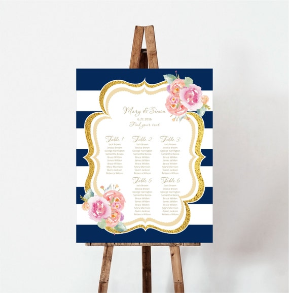Wedding Seating Plan Navy Stripes Watercolor flowers Seating – Guest Seating Chart Template